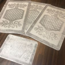 ROMANY WASHABLES GYPSY MATS 4PC SETS NON SLIP SWIRL DESIGN SILVER GREY LUXURY